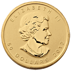 2012 1-oz gold maple leaf coin obverse